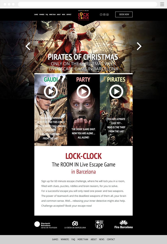 Главная страница интернет-портала Lock-Clock Escape Room Barcelona